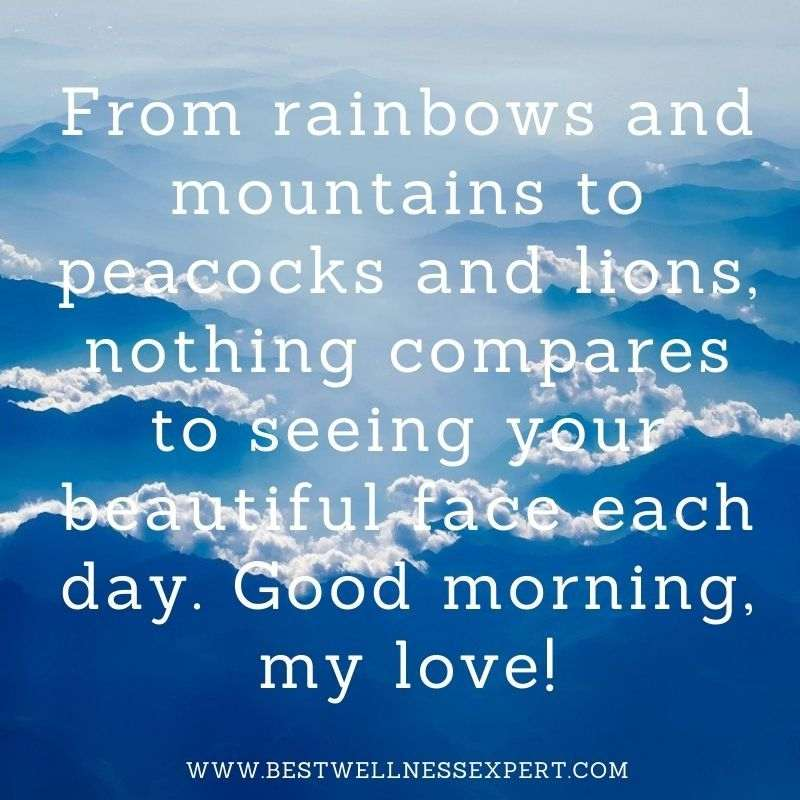 From rainbows and mountains to peacocks and lions, nothing compares to seeing your beautiful face each day. Good morning, my love!