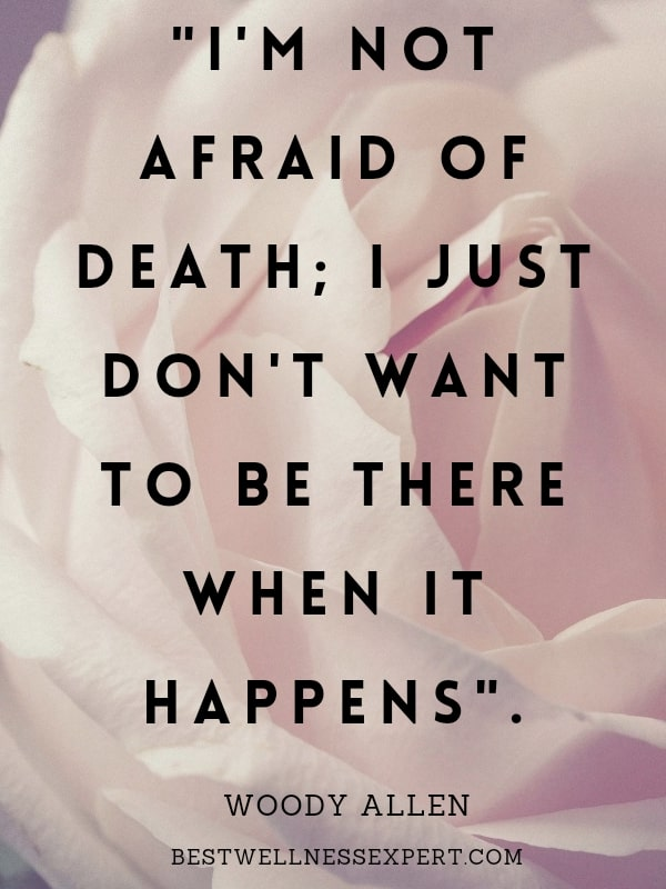 I am not afraid of death, I just don't want to be there when it happens