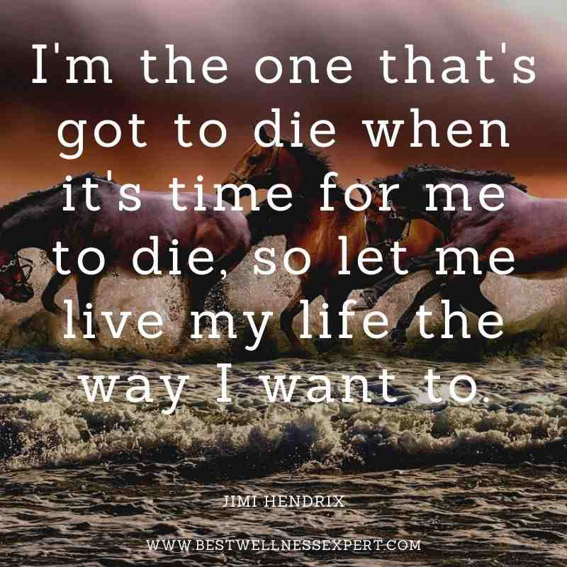 I'm the one that's got to die when it's time for me to die, so let me live my life the way I want to