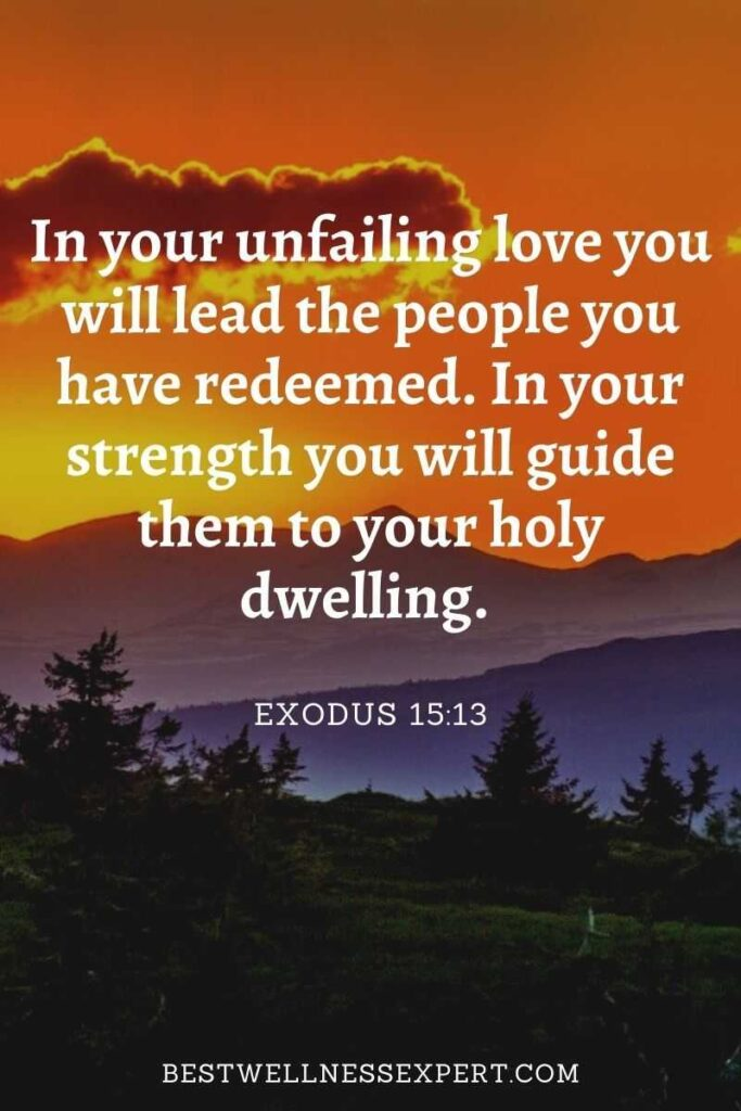 In your unfailing love you will lead the people you have redeemed. In your strength you will guide them to your holy dwelling.