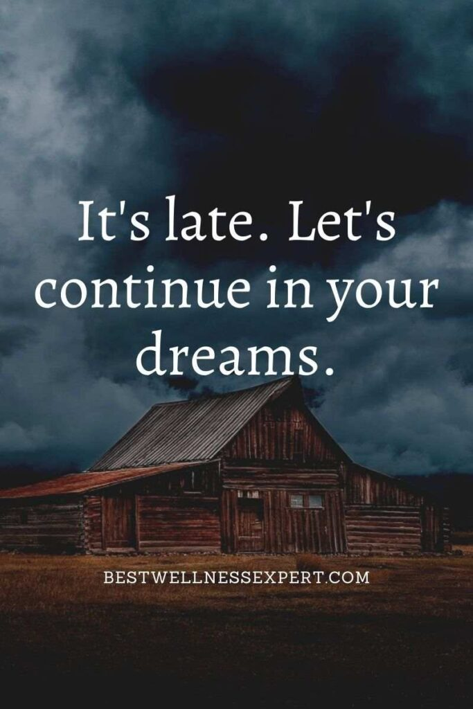 It's late. Let's continue in your dreams.