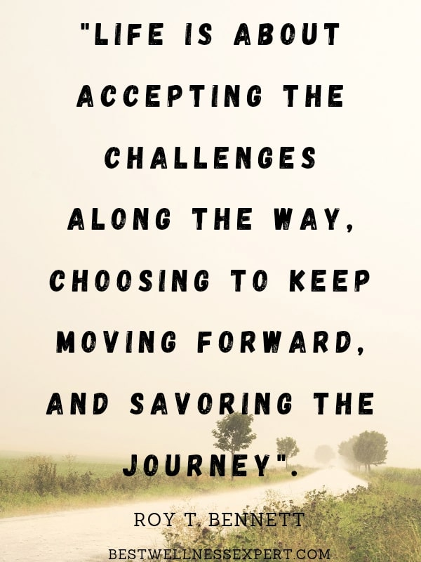 Life is about accepting the challenges along the way, choosing to keep moving forward, and savoring the journey.
