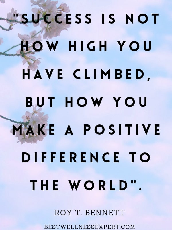 Success is not how high you have climbed, but how you make a positive difference to the world
