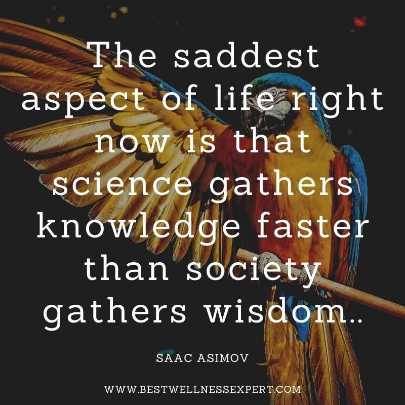 The saddest aspect of life right now is that science gathers knowledge faster than society gathers wisdom..