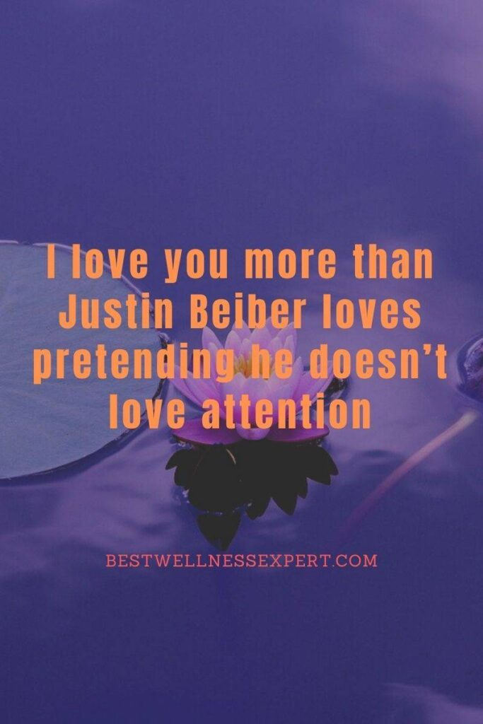 I love you more than Justin Beiber loves pretending he doesn't love attention