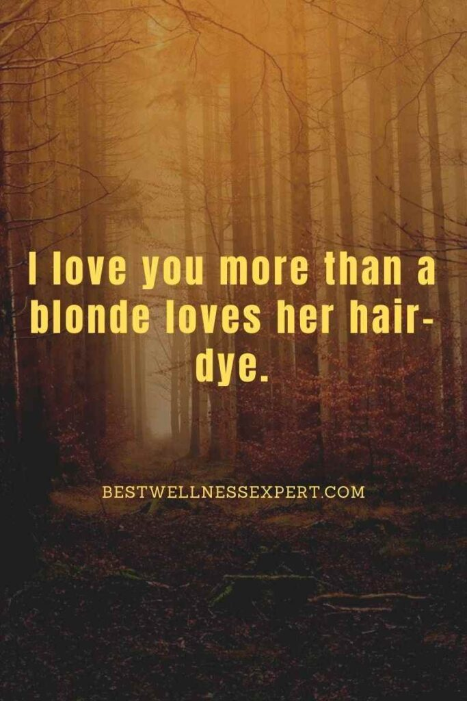 I love you more than a blonde loves her hair-dye.