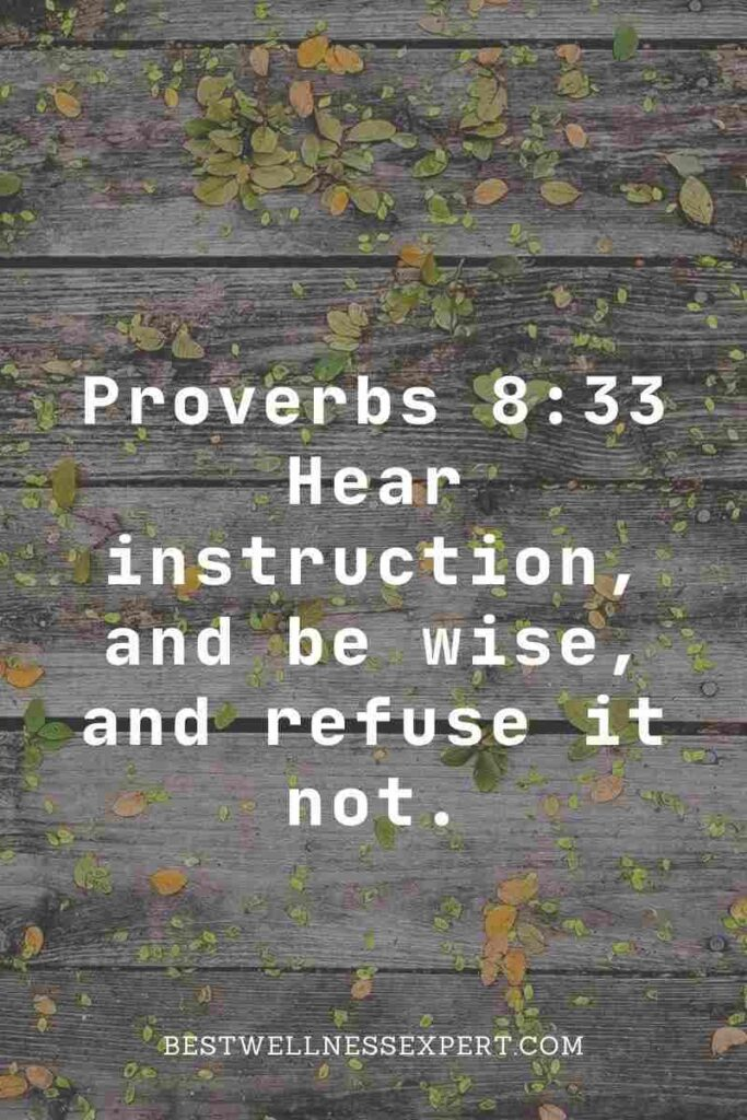 Proverbs 8:33 Hear instruction, and be wise, and refuse it not.