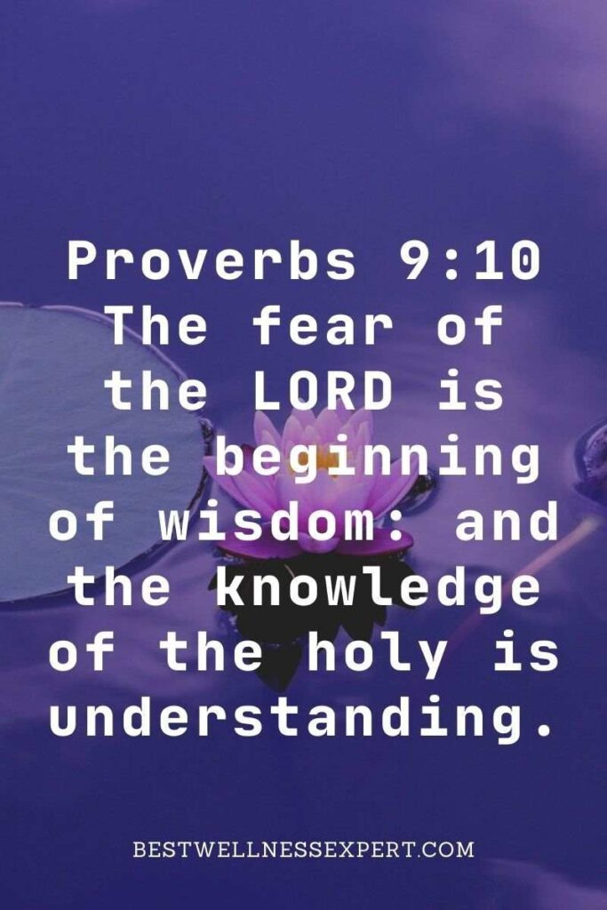 Proverbs 9:10 The fear of the LORD is the beginning of wisdom and the knowledge of the holy is understanding.