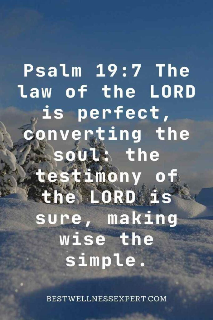 Psalm 19:7 The law of the LORD is perfect, converting the soul the testimony of the LORD is sure, making wise the simple.
